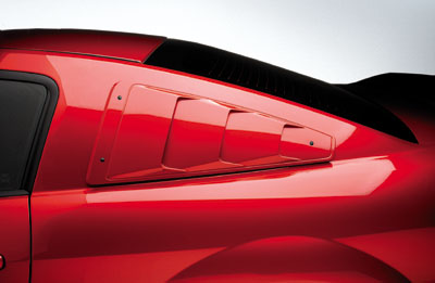 Mustang roush quarter window louvers 2005 for 06 mustang rear window louvers